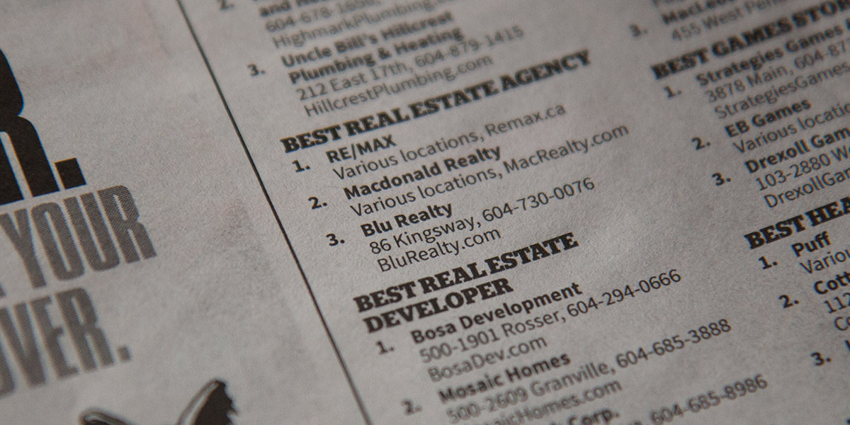 Blu Realty is third Best Real Estate Agency in Vancouver