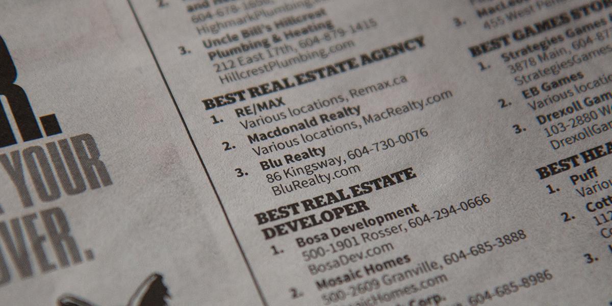 Blu Realty is third Best Real Estate Agency in Vancouver